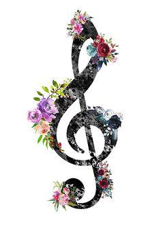 Treble Clef by Erzebet S Music Drawings, Music Artwork, Art Music, Art Drawings, Treble Clef Art, Treble Clef Tattoo, Wörter Tattoos, Music Tattoos, Arte Do Galo