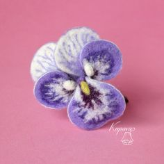 Pansies. Lilac  flowers. Needle felted brooch. Wool felt brooch. Felted jewelry. Gift ideas. Gift for Her