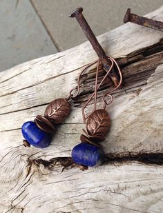 Leaf & Lapis Earrings Earthy Rustic Jewelry by YaY by YaYJewelry, $30.00