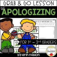 A classroom lesson on apologizing - leads and starts the discussion on why apologies are important and the parts to a good apology Elementary School Counselor, School Counseling, Elementary Schools, Social Skills Activities, Teaching Social Skills, Creative Writing Tips, School Info, Guidance Lessons, Social Thinking