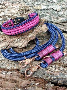 Tauleine and paracord collar bespoke blue, fuchsia, burgundy Paracord, Etsy Shop, Bracelets, Jewelry, Fashion, Braid, Linen Fabric, Handarbeit, Blue