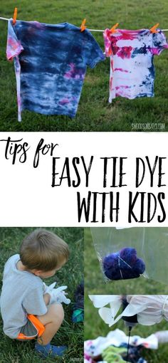 Easy Tie Dye With Kids Tie dye with kids can be easy and fun! Check out these tips for tie dyeing that makes a minimal mess perfect summer craft for older kiddos and a great camp shirt idea. The post Easy Tie Dye With Kids appeared first on Summer Diy. Summer Camp Art, Summer Camp Activities, Babysitting Activities, Summer Fun For Kids, Summer Crafts For Kids, Projects For Kids, Nanny Activities, Crafts For Camp, Art Projects