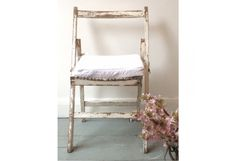 Folding Chair with Matelassé Cushion  - London Vintage