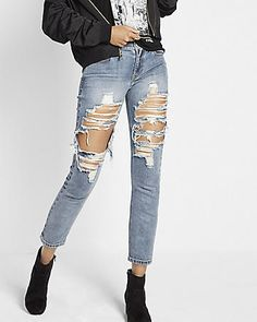 Mid Rise Distressed Original Cropped Girlfriend Jeans