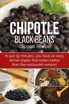 This Chipotle Black Bean copycat recipe tastes just like what you buy at the pop. - This Chipotle Black Bean copycat recipe tastes just like what you buy at the popular chain! Chipotle Black Beans, Goya Black Beans Recipe, Mexican Black Beans, Mexican Beans Recipe, Chipotle Corn Salsa, Chipotle Burrito Bowl, Vegetarian Meals, Healthy Recipes, Salads