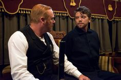 Murdoch Mysteries - Brackenreid (Thomas Craig) is wary of prisoner Gillies (Michael Seater). Murdock Mysteries, Detective Shows, Tv Series, Mystery, Tv Shows, Actors, Humor, Celebrities, Fan