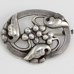 Early Georg Jensen Sterling Silver/925 Floral Leaf Pin