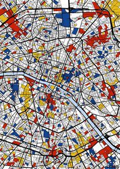 piece of Piet Mondrian artwork to hang on the wall on the right side of the window wall. Piet Mondrian Artwork, Mondrian Kunst, Genius Loci, Principles Of Art, Map Design, Wassily Kandinsky, Renaissance Art, Art Plastique, Framed Art Prints