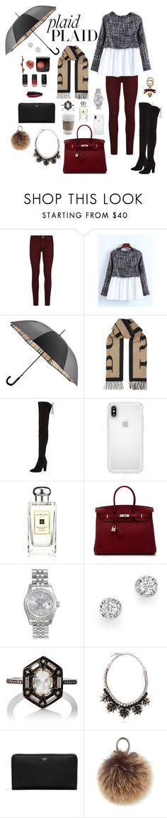 """""""Plaid Plaid"""" by iii-i-mcmxcv ❤ liked on Polyvore featuring Paige Denim, Burberry, Stuart Weitzman, Speck, Jo Malone, Hermès, Chanel, Rolex, Bloomingdale's and Cathy Waterman"""