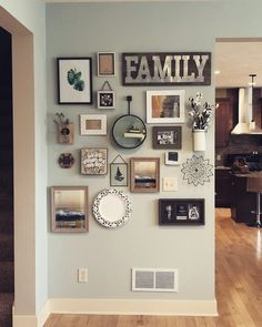 These creative wall decor ideas will totally make up your home! Do you have a blank and large space in one of your rooms? Spice up your wall with one of these ideas. Family Wall Decor, Room Wall Decor, Living Room Decor, Bedroom Decor, Wall Decor Frames, Family Wall Collage, Photo Wall Decor, Living Rooms, Gallery Wall Layout