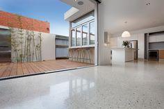 Geocrete creates Australia's most unique, innovative and durable polished concrete floors. Premium concrete polishers for a superior polished floor. Polished Concrete Kitchen, Polished Concrete Flooring, Timber Flooring, Kitchen Flooring, Plywood Floors, Concrete Pavers, Concrete Lamp, Concrete Countertops, Laminate Flooring