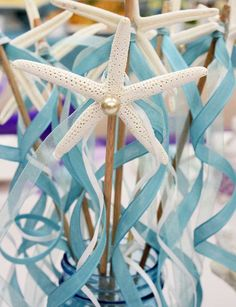 Starfish wands at a mermaid birthday party! See more party ideas at CatchMyParty.com!