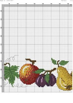 ru / Фото - 44 - kento / owoce z sadu Cross Stitch Fruit, Cross Stitch Kitchen, Cross Stitch Borders, Counted Cross Stitch Patterns, Cross Stitch Designs, Cross Stitch Embroidery, Table Linens, Diy And Crafts, Small Cross Stitch