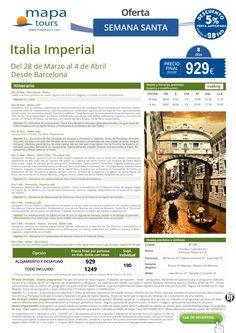 Italia Imperial Semana Santa desde Barcelona**Precio final desde 929** ultimo minuto - http://zocotours.com/italia-imperial-semana-santa-desde-barcelonaprecio-final-desde-929-ultimo-minuto-3/