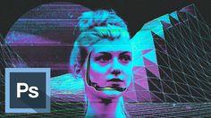Tutorial Photoshop - Efecto Retrato Futurista Cyberpunk - Videojuego Retro