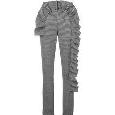 Ultràchic houndstooth ruffled slim fit trousers ($625) ❤ liked on Polyvore featuring pants, black, houndstooth pants, frilly pants, ruffle pants, patterned trousers and slim fit pants
