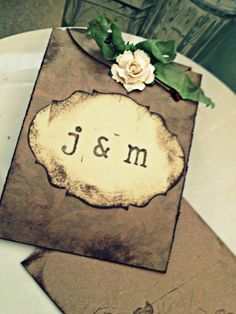 Wedding Invitation Handmade Hand stamped Country Chic. $7.00, via Etsy.