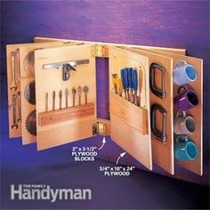"Flip-through tool storage! Plywood ""leaves"" swing from standard door hinges, allowing quick and easy access to tools."