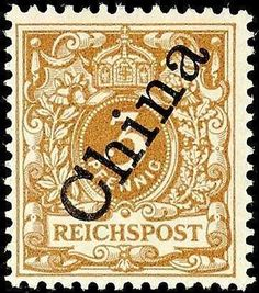 """German Post China, Michel 1IId-3 Pf steep overprint bright orange brown in perfect condition unused, certificate with photograph Dr. Hartung: """"fresh colors, perfect perforated and in faultless, unused condition. """" very scarce colour! Michel 2000,--"""