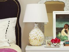 Learn how to create this elegant gold and white lamp. More DIY Dorm Room Decor & Decorating Ideas from HGTV >> http://www.hgtv.com/design/make-and-celebrate/handmade/33-diy-dorm-room-ideas-pictures?soc=pinterest