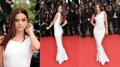 barbara palvin at the search primier perfect white dress