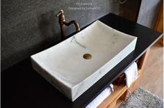 "27"" White Marble Stone Bathroom Vessel Sink - TOJI WHITE"