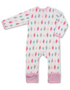 Organic Baby Clothes Penguin Kimono Romper Multi Pink | Penguin Organics