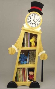 19-W3582+-+Leaning+Clock+Shelf+Woodworking+Plan