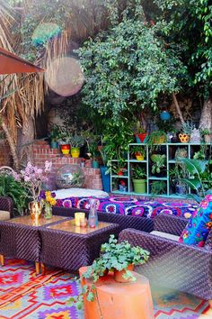 Bold Color Bohemian Outdoor Living Room. Pinned by #ChiRenovation - www.chirenovation.com