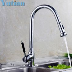 64.99$  Watch now - http://ali0gv.worldwells.pw/go.php?t=1884328160 - Free Shipping pull out kitchen faucet.Brass Thicken Chrome Spring kitchen mixer faucets.kitchen sink tap.torneira YT-6023