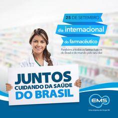 Dia 25 de setembro é comemorado o Dia Internacional do Farmacêutico. Nós da EMS, gostaríamos de prestar essa homenagem aos farmacêuticos! #dataimportante #DiaInternacionaldoFarmacêutico
