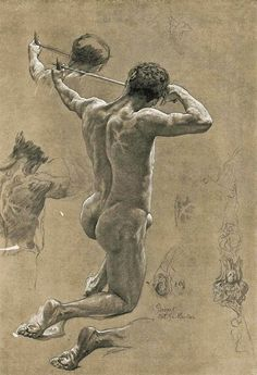 Otto Greiner (German painter, Study on the Ex Libr … Human Figure Drawing, Figure Sketching, Guy Drawing, Life Drawing, Drawing Sketches, Painting & Drawing, Drawings, Anatomy Sketches, Anatomy Drawing