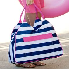 183d57774de4 Summer Companion - Prep Stripe Over Sized Beach Bag. Large Beach BagsMonogrammed  ...