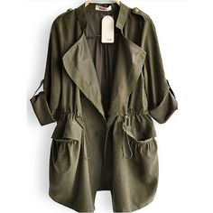Amy Green Drape Collar Pockets Long Sleeve Drawstring Outerwear ($45) ❤ liked on Polyvore featuring outerwear, coats, jackets, tops, green, pocket coat, leather-sleeve coats, drawstring coat, brown coat and long coat