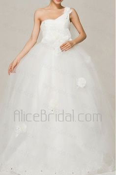 Satin One Shoulder Floor Length Ball Gown Wedding Dress with Handmade Flowers - Alice Bridal