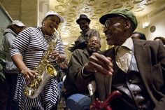 """Diane """"Lil Sax"""" Ellis greets her uncle, saxophonist Jimmy Ellis as The Jazzy Ladies perform at The Hyde Park Bank Photo Marc Monaghan http://www.flickr.com/photos/marcmonaghan/"""
