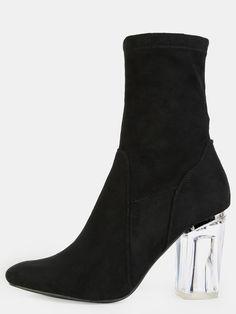 High Shaft Clear Heel Booties BLACK -SheIn(Sheinside)