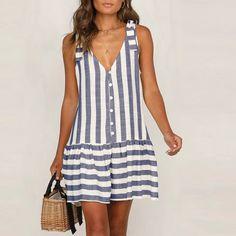 Womens Staped Bohemian Dress Spaghetti Strap Button Down Swing Mini Dress - Swing Dresses - Ideas of Swing Dresses Simple Dresses, Casual Dresses, Summer Dresses, Dresses Dresses, Ball Dresses, Elegant Dresses, Formal Dresses, Wedding Dresses, Maternity Mini Dresses