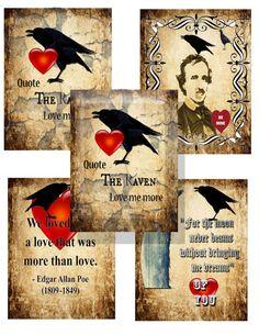 Edgar Allen Poe Gothic  Valentine cards by Raidersofthelostart, $3.50