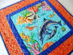 Dolphin Table Topper Quilted Ocean Runner Fish Quilt Beach