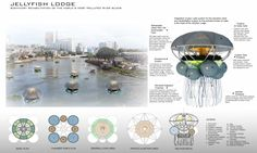 The project would encourage nearby residents to maintain the lodges while reaping the benefits of the food grown inside. The Jellyfish Lodge received an Honorable Mention in this year's Biodesign Competition.