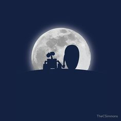 Wall•E and EVE in the Moonlight, Awwwww. | Throw Pillow