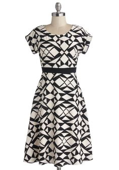 Kinetic Creativity Dress. Put your most posh ensemble plan in motion by pairing this black and white dress with cobalt tights and silver flats, before enlivening the wine bar.  #modcloth