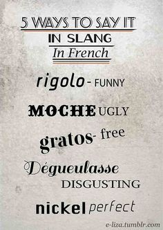 ♔  5 WAYS TO SAY IT IN SLANG:  RIGOLO = FUNNY;   MOCHE = UGLY;   GRATOS = FREE;   DEGUELASSE = DISGUSTING;   NICKEL = PERFECT