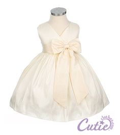 Baby flower girl dress- how precious is this for Baby Solange? Blessing Dress, Ivory Flower Girl Dresses, Taffeta Dress, Dress With Bow, My Baby Girl, Special Occasion Dresses, Baby Dress, Kids Fashion, Girl Outfits