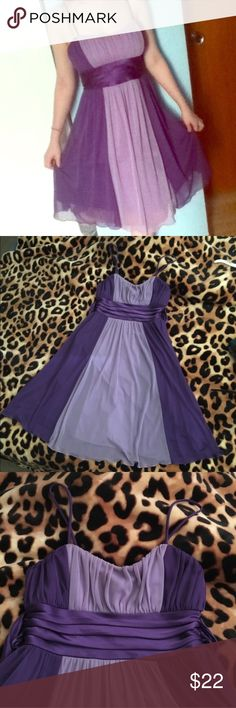 • purple dress • Beautiful two tone purple dress. Ties in the back. Worn once. Excellent condition. 2nd and 3rd pics show colors most accurately Dresses