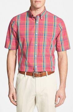 Men's Nordstrom Regular Fit Short Sleeve Plaid Sport Shirt