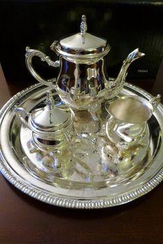 "Silverplate Mini Coffee Tea Set 4 PC w 10"" Round Tray New in Box | eBay"