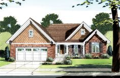 Beautiful one level Cottage style home with a covered porch, brick and stone exterior and functional floor plan.  House Plan # 161152.