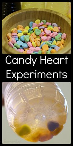 Maybe skittles for SRP - Candy Heart Experiments for Valentine's Day! Quick and easy science that allows for so much scientific inquiry and analysis. Even better, it's a FUN way for the kiddos to explore! My Funny Valentine, Valentine Theme, Valentine Day Crafts, Kids Valentines, Kid Experiments, Science Fair Projects, Projects For Kids, Chemistry Experiments, Science Chemistry